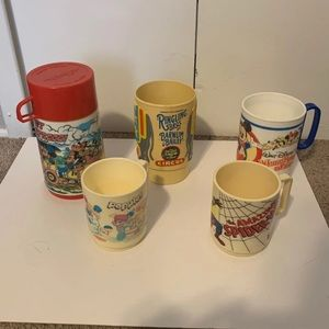 Vintage Thermos and Plastic Children's Mugs